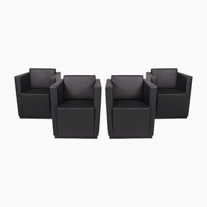 406 Black Leather Armchair Set from Walter Knoll, Set of 4