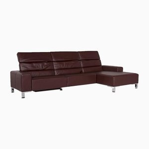 Bordeaux Dark Red Auburn Leather Corner Sofa with Function from Brühl & Sippold
