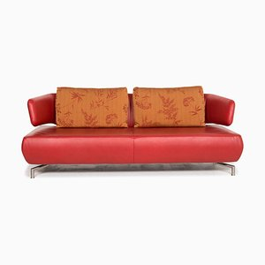 Red Leather 3-Seat Sofa from Koinor