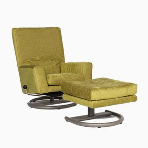 Green Velvet Fabric Armchair & Stool with Function from Rolf Benz