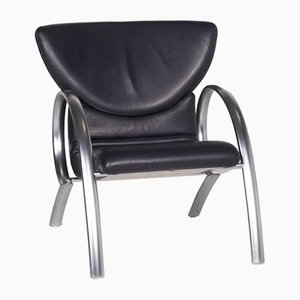 Dark Blue Leather Armchair from Rolf Benz