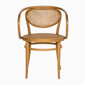 210R Wood and Rattan Armchair by Gebrüder Thonet for Thonet