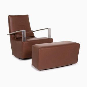 Brown Leather Armchair & Stool with Rocking Function from Ligne Roset