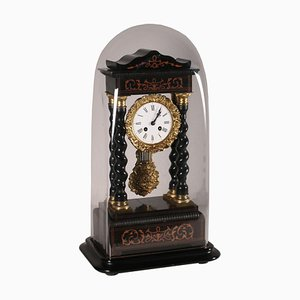 19th Century French Temple Clock with Shrine, Ebony & Gilded Bronze