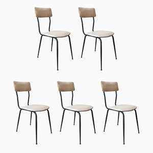 Vintage Black Tubular Steel and White Leather Dining Chairs, 1970s, Set of 5