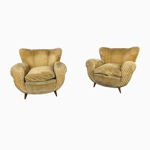 Vintage Mustard Velvet Lounge Chairs, 1950s, Set of 2