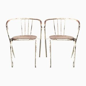 Vintage Industrial Tubular Metal Dining Chairs, Set of 2