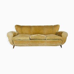 Senffarbenes Vintage 3-Sitzer Sofa aus Samt, 1950er