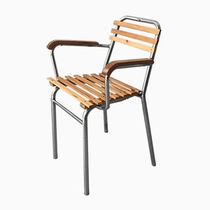 Chaise de Salon Riviera Vintage en Acier Tubulaire Poli et Lames en Bois