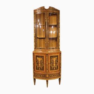 Louis XVI Style Italian Inlaid Rosewood Corner Cabinet, 1960s