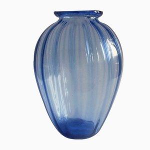 Vaso in vetro soffiato blu chiaro di MVM Cappellin & C., anni '20