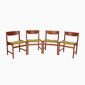 Mid-Century Danish Teak and Fabric Dining Chairs, Set of 4