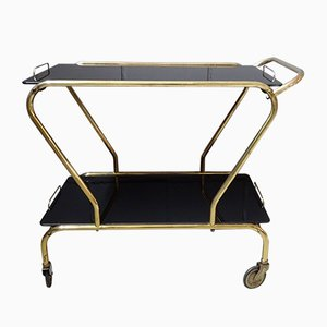 Mid-Century German Tea Trolley with Black Glass Shelves, 1950s