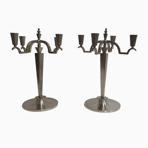 Art Deco Swedish Tin Candleholders, Set of 2