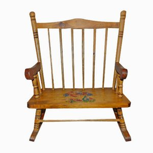 Mid-Century Wooden Toy Rocking Chair
