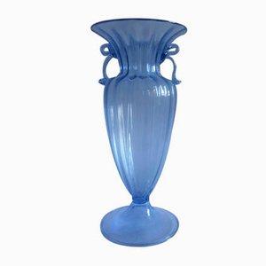 Vaso celeste in vetro soffiato di Murano di Seguso Vetri d'Arte, anni '30