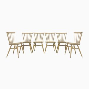 Vintage Light Elm and Beech Dining Chairs by Lucian Ercolani for Ercol, 1960s, Set of 6