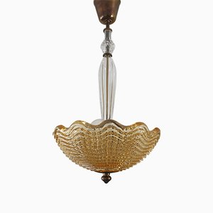 Art Deco Crystal Glass and Brass Chandelier by Carl Fagerlund for Orrefors, 1950s