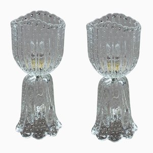 Murano Bubble Glass Table Lamps from Barovier, 1950s, Set of 2