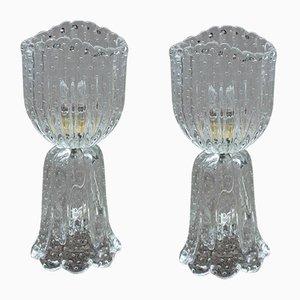 Murano Glasblasen Tischlampen von Barovier, 1950er, 2er Set
