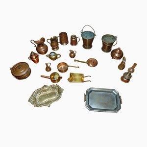 Mid-Century Messing und Kupfer Set, 20er Set