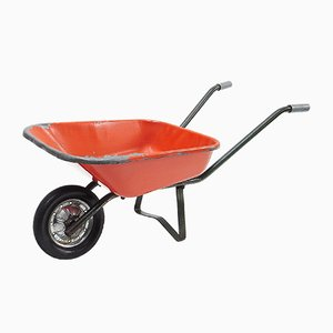Mid-Century Orange Steel Childrens Wheelbarrow, 1960s
