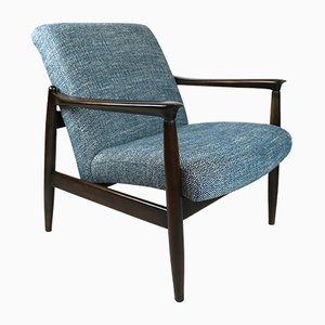Vintage Blue Marine Natural Fabric Armchair by Edmund Homa, 1970s