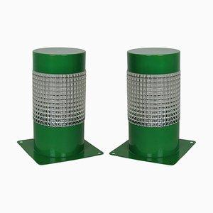 Französische Grüne Metall Tischlampen von Lita, 1960er, 2er Set