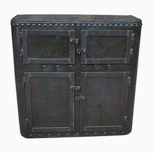 Antique Industrial Riveted Steel Buffet, 1900s