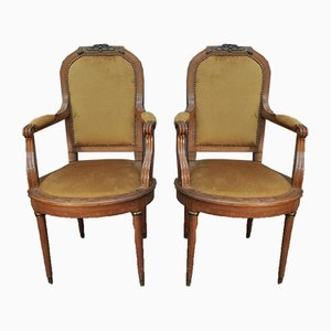 Antique Louis XVI Lounge Chairs in Oak, Fabric & Bronze, 1900s, Set of 2