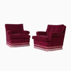 Burgundy Velvet Lounge Chairs, 1950s, Set of 2