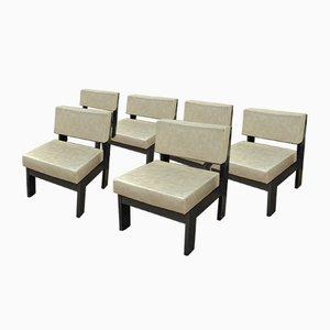 Armlehnstühle aus Schwarz Lackiertem Holz und Kunstleder, 1970er, 6er Set