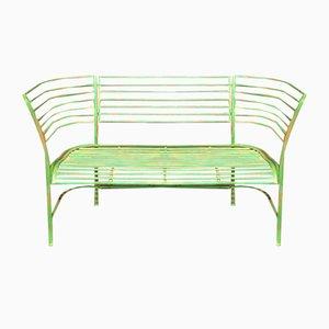 Vintage Danish Garden Bench in Green Patinated Metal