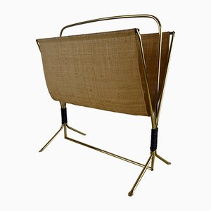 Mid-Century Brass and Bast Magazine Rack