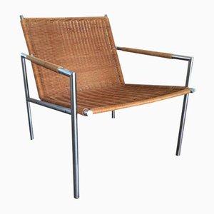Stuhl aus Rattan & Stahl von Martin Visser für t Spectrum, 1960er