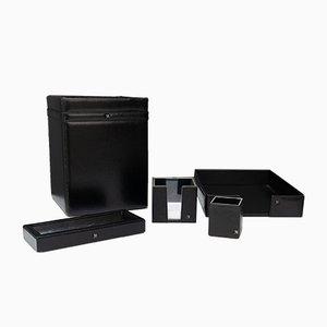 Schwarzes Schreibtisch Set aus Leder, 1972, 5er Set