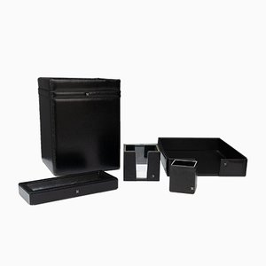 Stitch Black Leather Desk Set, 1972, Set of 5
