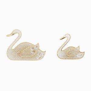 Chandeliers Swan en Cristal de Palwa, 1972, Set de 2