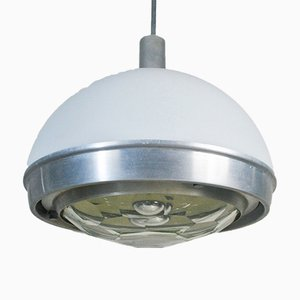 Pendant in Plex and Steel with Lighting Part in Faceted Glass by Pia Guidetti Crippa, 1960s