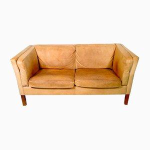 Cognac Leather 2-Seat Sofa, Sweden, 1970s