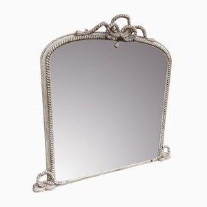Grand Miroir Overmantle Antique en Bois Sculpté et Gesso