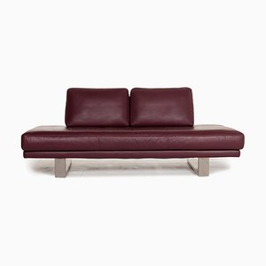 6600 Aubergine Purple Leather 3-Seat Sofa by Kein Designer for Rolf Benz
