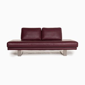 6601 Aubergine Purple Leather 2-Seat Sofa by Kein Designer for Rolf Benz