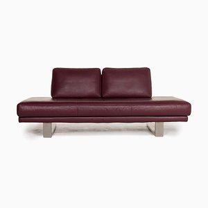 6601 Aubergine Violet Leather 2-Seat Sofa by Kein Designer for Rolf Benz