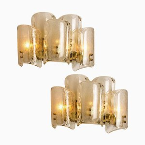 Large Glass Wall Lights or Sconces in the Style of Kalmar, 1969, Set of 2
