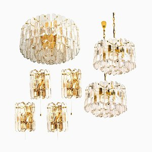 Palazzo Light Fixtures in Gilt Brass and Glass, 1970s, Set of 7