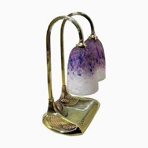 Antique Bronze and Pâte De Verre Glass Double Table Lamp by Robert Bousquet, 1910
