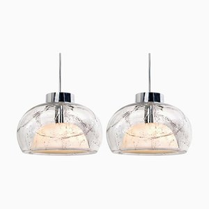 Hand-Blown Glass Pendant Lamps by Doria Leuchten Germany, 1970s, Set of 2