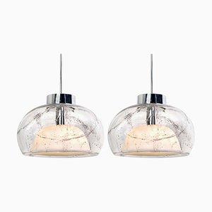 Mundgeblasene Glas Hängelampen von Doria Leuchten Germany, 1970er, 2er Set