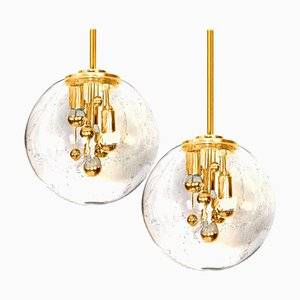 Space Age Brass and Blown Glass Lights by Doria Leuchten Germany, 1970s, Set of 2
